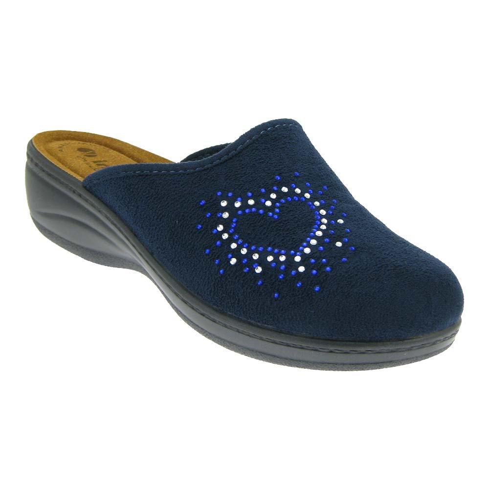 INBLU-Hausschuhe-Pantoffeln-Damenhausschuh-Damenschuh-flexibel-Textil-Fussbett