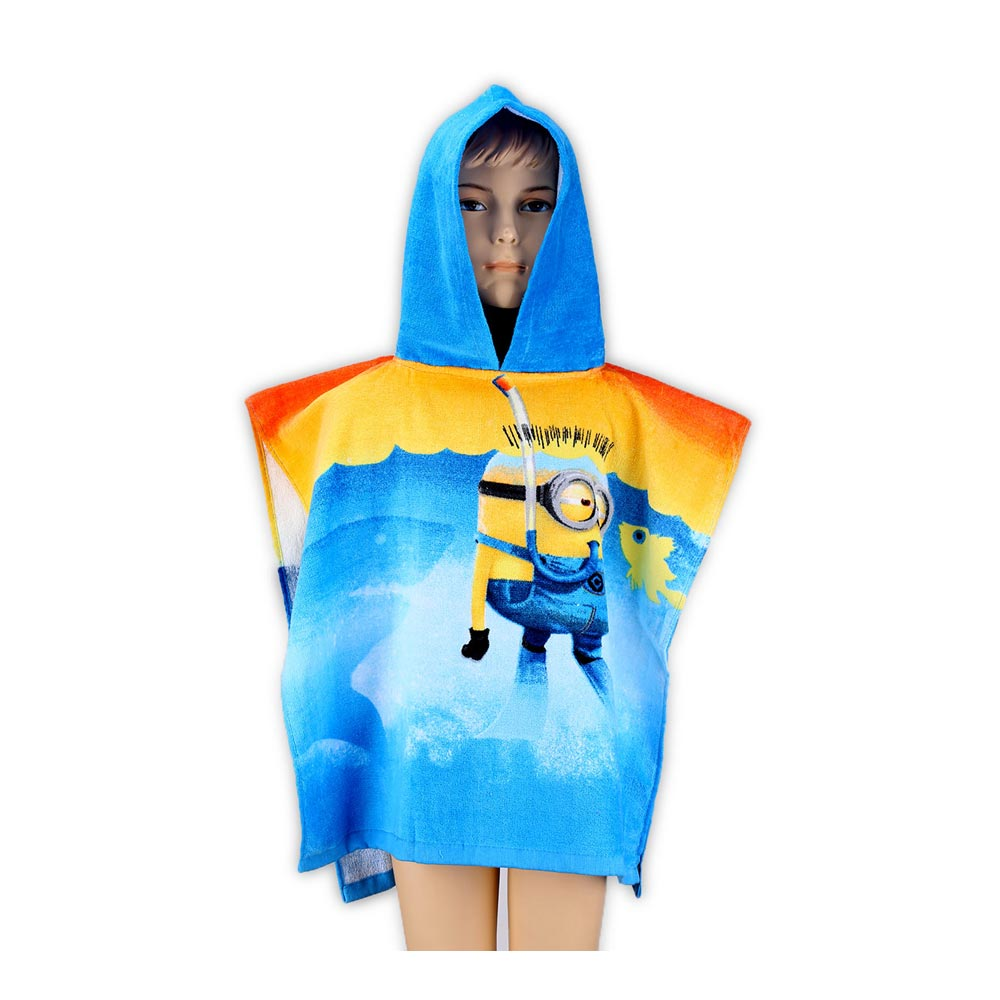 minions kinder poncho mit kapuze badeponcho bademantel. Black Bedroom Furniture Sets. Home Design Ideas