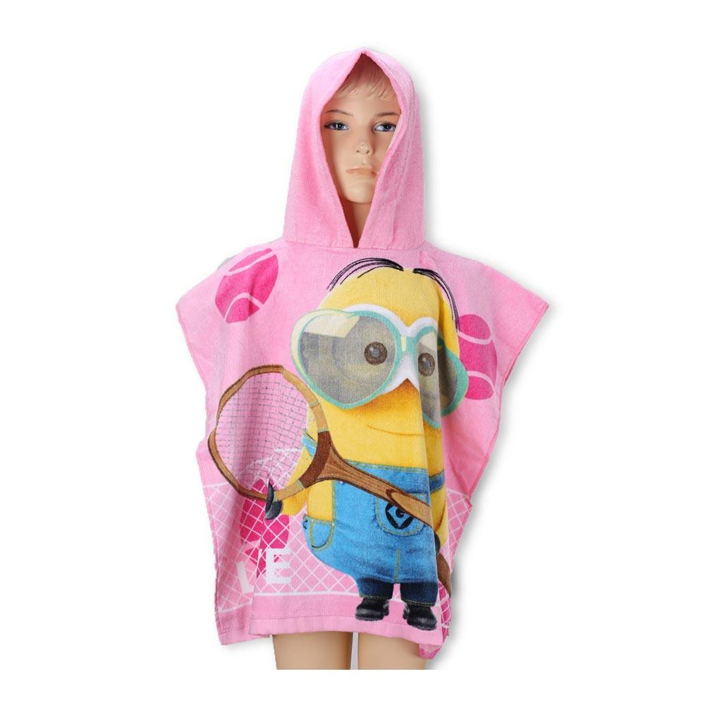 minions kinder poncho mit kapuze badeponcho bademantel badetuch handtuch ebay. Black Bedroom Furniture Sets. Home Design Ideas