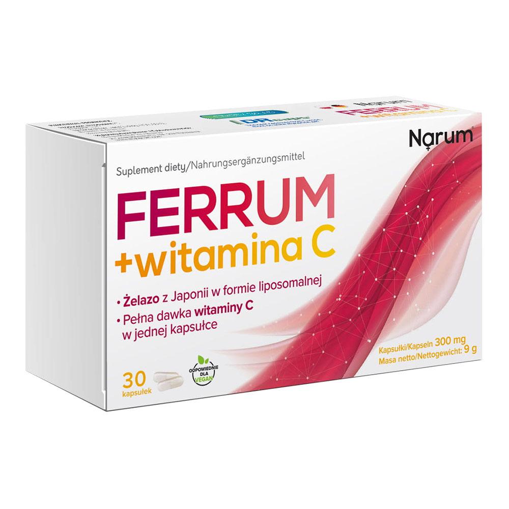 Narum Ferrum + Vitamin C 300 mg, 30 Kapseln